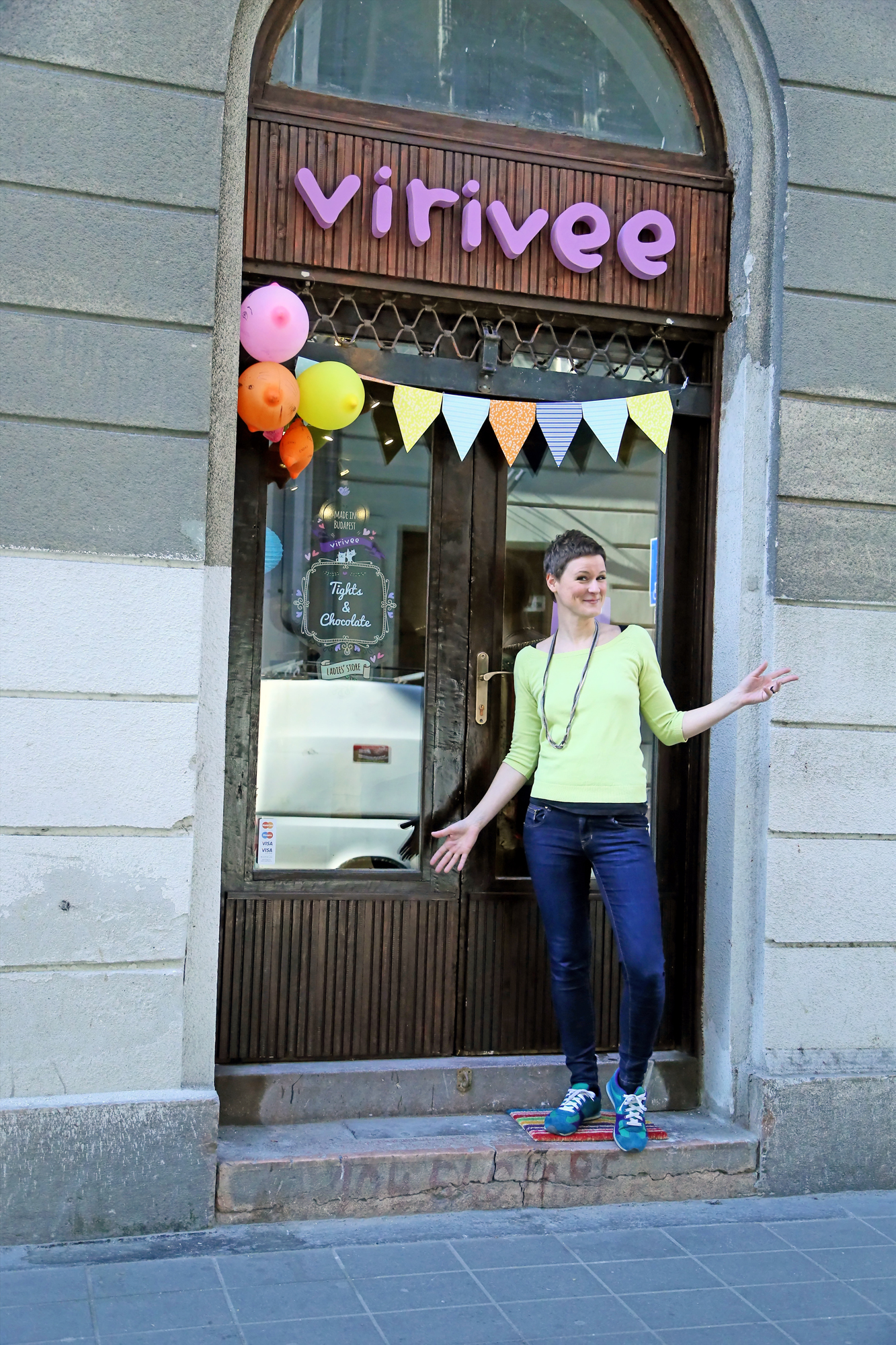 Viri in front of the Virivee store in Budapest