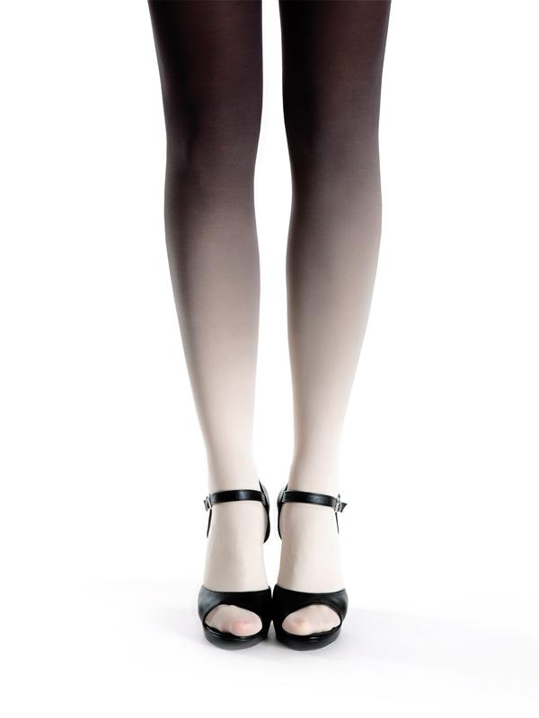 Elfenbein-schwarz Strumpfhose
