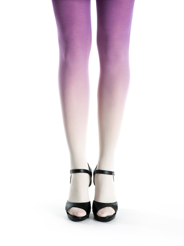 Ivory-purple ombre tights
