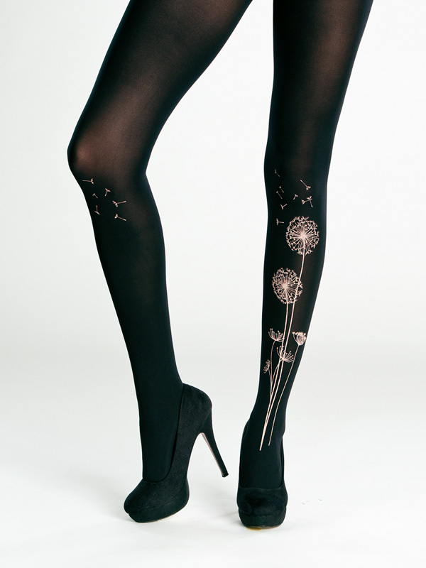 Black dandelion tights by Virivee
