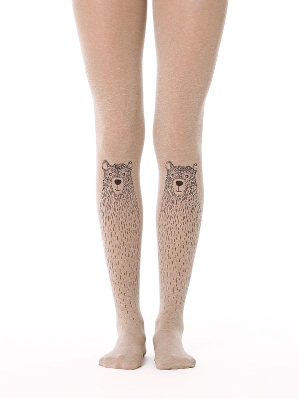 Cute bear printed opaque tights