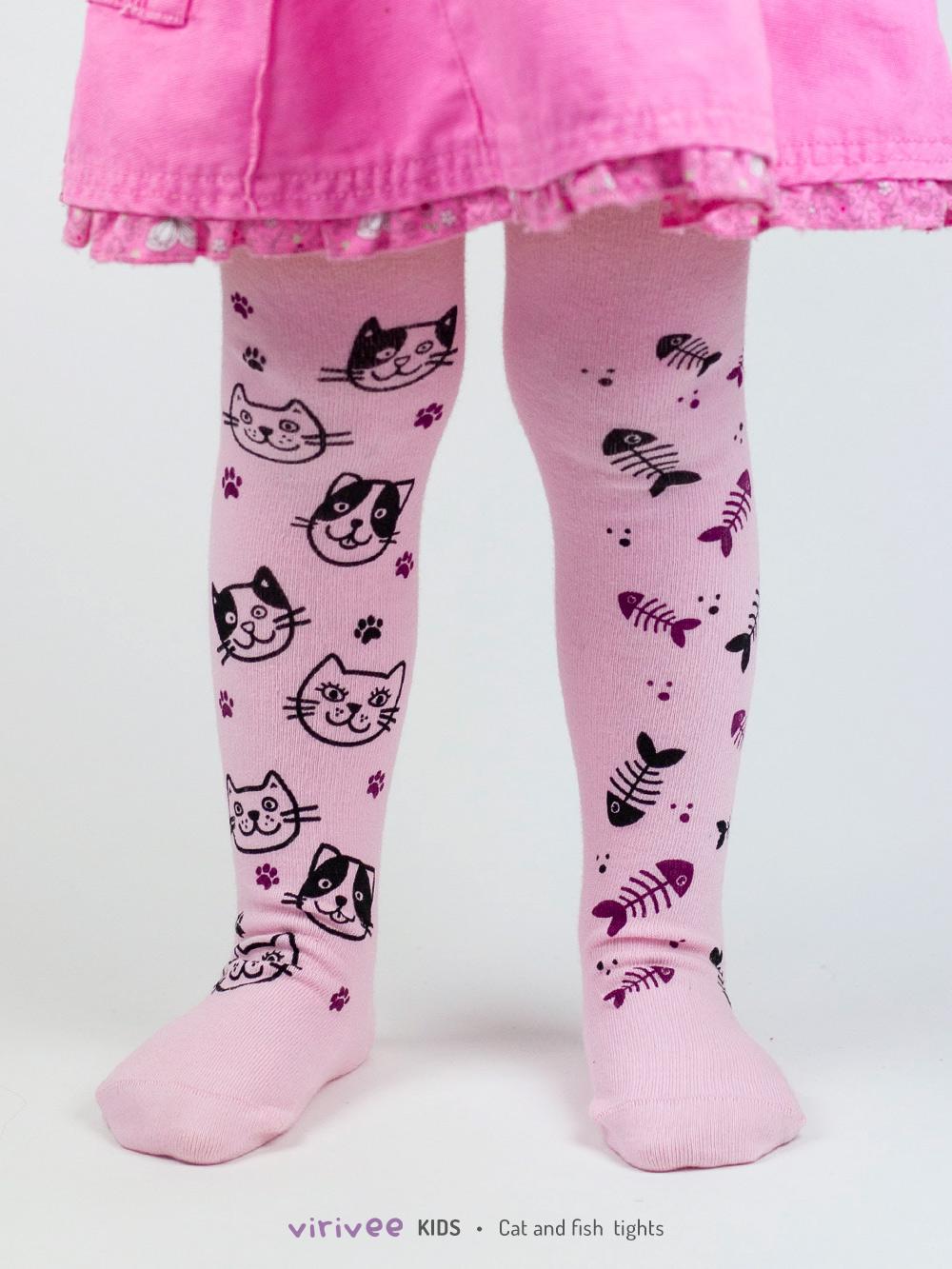 Katzen & Fische Kinderstrumpfhose In Pink