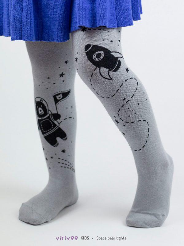 Handbedruckte Kinderstrumpfhose mit Astronautenbär