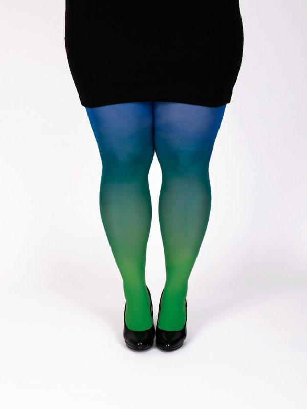 Plus size grün-blau Strumpfhose