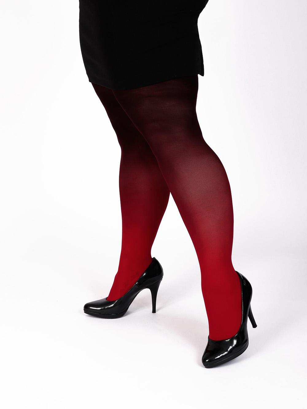 Plus Size Rot-schwarz Strumpfhose
