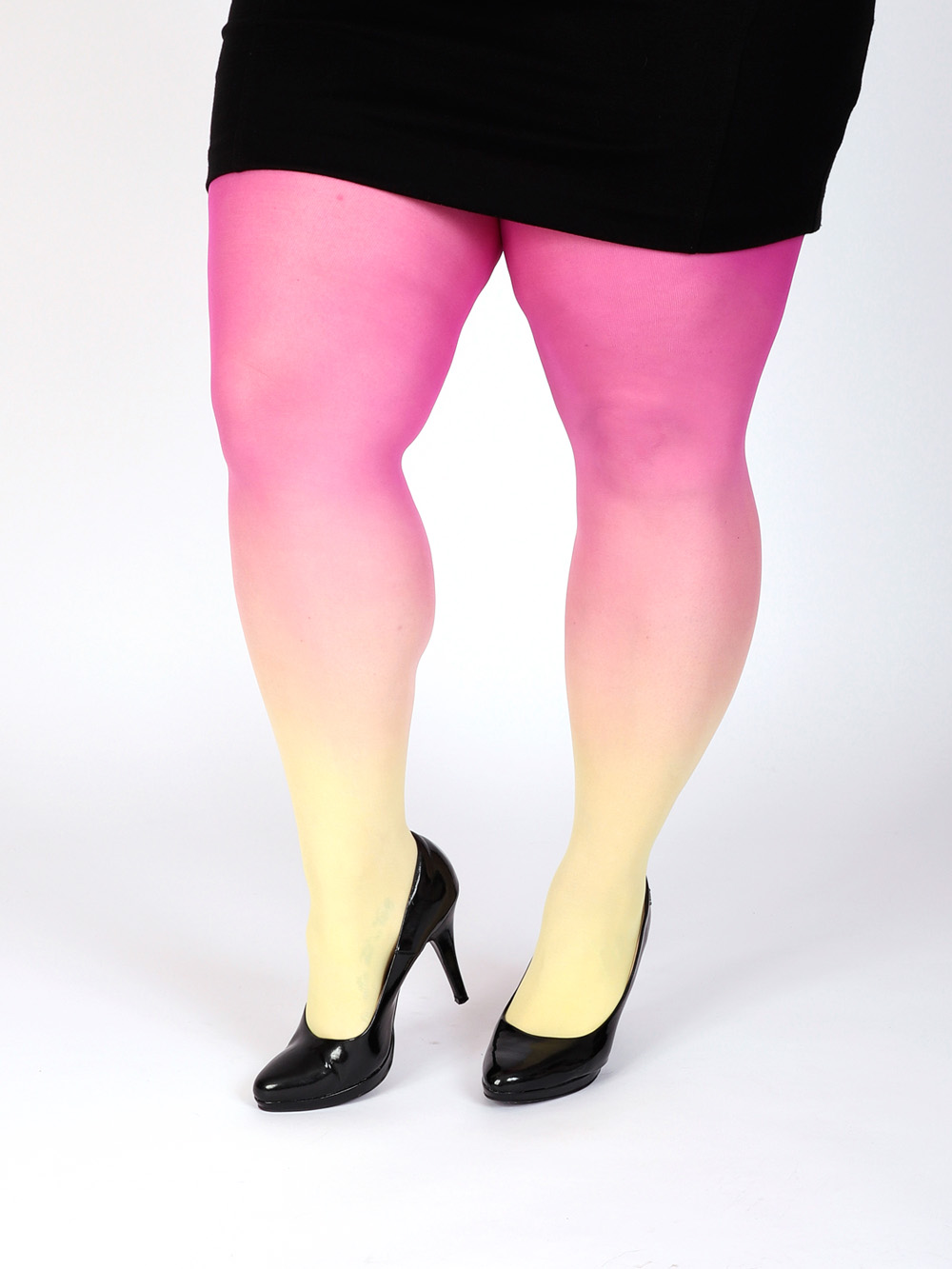 Plus Size Gelb-pink Strumpfhose