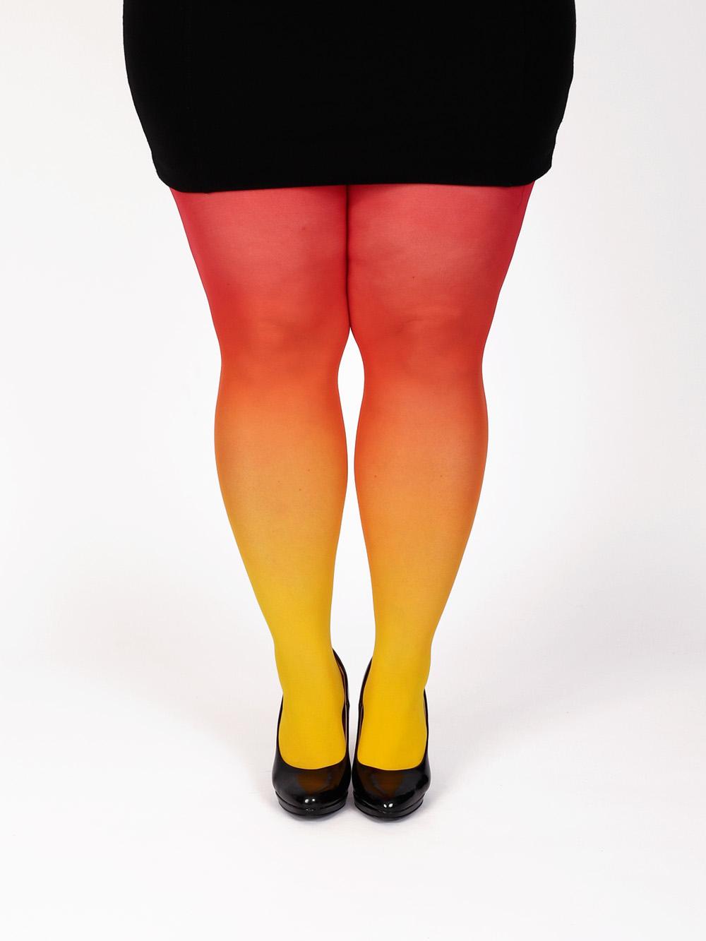 Plus Size Gelb-rot Strumpfhose